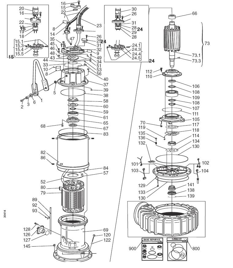 tsurumi pump parts breakdown